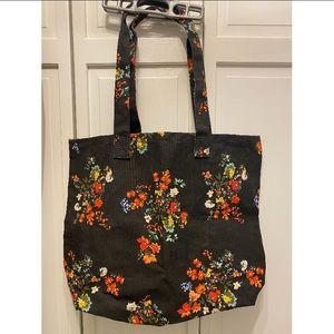 New Loft Black Floral Print Tote Bag